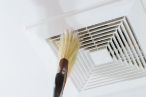Cleaning Air Duct with Brush - Local Houston